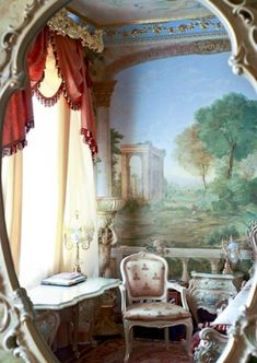 awesome classical rococo living room design with wall painting and mesmerizing curtain