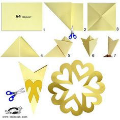 leuke hartjes voor moederdag - hearts for mother's day Paper heart wreath - link has a few more paper heart templates by candace Hearts Snowflake - paper cutting pattern for connected circle of hearts How to cut a paper heart flower DIY - Heart Cut Out In Origami And Kirigami, Origami Paper, Diy Paper, Fun Origami, Origami Envelope, Origami Heart, Valentine Crafts, Holiday Crafts, Christmas Crafts