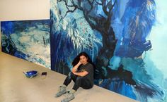 Rufina Santana. Having a rest in my studio. Cartografias del Agua; new serie .
