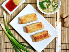 SO YUMMY! Made I used a food porcessor to prep the veggies so after cooking I had enough to use two tablespoon scoops into each wrapper giving me a total of I will turn the over temp down next time but these are amazing! Vegetable Egg Rolls, Homemade Chinese Food, Appetizer Recipes, Appetizers, Asian Recipes, Healthy Recipes, Healthy Eats, Baked Vegetables, Veggies