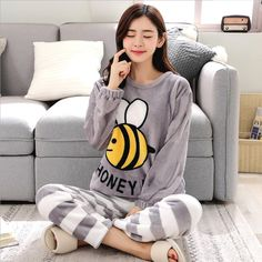 Women Pajamas Set Women Pyjamas Thick Flannel Cute Sheep Female Warm Winter Pajama Set Long Sleeve Full Trousers Two Piece Source by sets winter Cute Pajamas, Pajamas Women, Pyjamas, Babydoll, Pajama Outfits, Cute Sheep, Pajama Set, Korean Fashion, Trousers