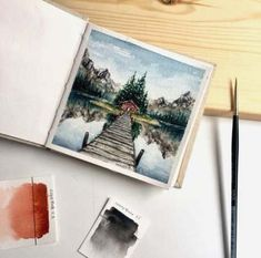 New Ideas For Painting Nature Water Inspiration Watercolor Art Lessons, Watercolor Sketchbook, Watercolor Art Paintings, Watercolor Drawing, Watercolor Landscape, Abstract Watercolor, Art Sketchbook, Watercolor Postcard, Watercolor Tutorials