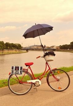 Umbrella holder for bicycle - stylish bike accessories by Bike Belle. Again, North America needs to embrace riding with umbrellas!