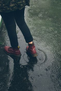 Red boot in the rain