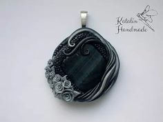 Polymer clay gothic pendant with roses by Katalin Handmade (2015) #polymerclay #polymerclaypendant #gothicpendant #gothicroses #pendantwithroses #polymerclaygothic #clayroses