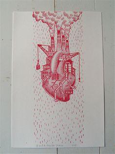 Love Factory, Handprinted Letterpress Poster on Etsy, $30.00
