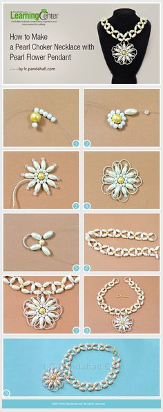 Tutorial on How to Make a Pearl Choker Necklace with Pearl Flower Pendant from LC.Pandahall.com