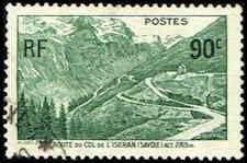 France #334 Stamp  Iseran Pass Road Stamp Lightly Cancelled
