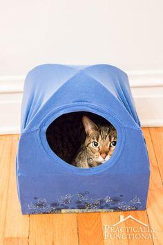 box + t-shirt + two wire coat hangers = DIY Cat Tent Bed