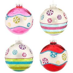 "RAZ Imports - 4"" Glittered Snowflake Ball Ornaments - Set of 4 – PerfectlyFestive.com"