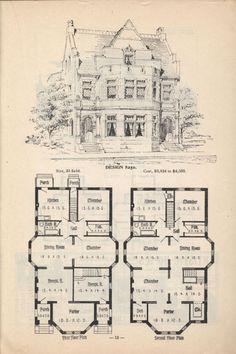Old Classic Floor Plans. 1890s 2 story home Artistic city houses, no. 43