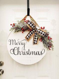 Beautiful door hanger for Christmas! Christmas Signs Wood, Christmas Door, All Things Christmas, Christmas Holidays, Christmas Wreaths, Christmas Decorations, Christmas Ornaments, Burlap Christmas, Primitive Christmas