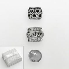 """Individuality beads sterling silver crystal """"sister"""", heart & spacer bead set on shopstyle.com"""