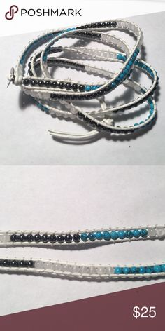 """5 Layer Genuine White Leather Wrap Bracelet NWOT- It can wrap around your wrist 4-5 times and is 34""""-36"""" long. It is made with genuine leather strings and has metal, jade and white stone beads. handmade Jewelry Bracelets"""