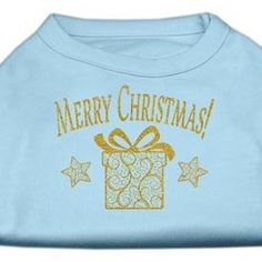 Golden Christmas Present Dog Shirt Baby Blue Med (12)