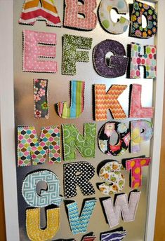 Giant Magnetic Alphabet Sewing For Kids, Diy For Kids, Baby Crafts, Diy And Crafts, Diy Magnets, Creation Couture, Diy Door, Fabric Scraps, Scrap Fabric Projects
