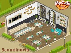 Scandinavia, Loft Style, My Cafe Game Orange Recipes, New Recipes, Cafe Recipes, Game Loft, Sweet Cafe, Cafe Style, Happy Year, Cooking Games, Cafe Food