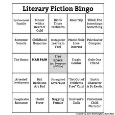 Story Tropes Bingo for (Almost) Every Genre by @bookriot See the whole list: http://bookriot.com/2015/02/17/story-tropes-bingo-almost-every-genre/?utm_source=Book+Riot+Subscriptions&utm_campaign=1ce09e228d-RIOTRUNDOWN_SUNDAY&utm_medium=email&utm_term=0_ffcca77bbb-1ce09e228d-320258133&mc_cid=1ce09e228d&mc_eid=053aaa1648