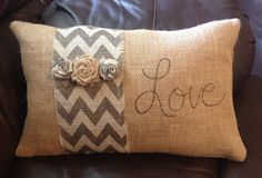 Burlap Pillow with Chevron Stripe by ThatsMyGracie on Etsy, $30.00