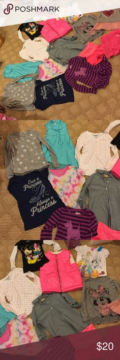 Toddler girl 5t clothing Girl clothing all 5t except chambray button up size 4-5. 6 long sleeve tops,3 short sleeve tops, 2 sleeveless tops, 1 athletic shorts, 1 skirt 1 puffer vest . All clean but used. NO stains no tears. Disney store , kohls, h&m, target, old navy,carters. 14 pieces winter spring summer fall clothing get both girl bundle clothing for a better deal! Shirts & Tops