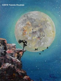 Acrylic painting on canvas - Girl playing saxophone with the moon by Yannis Koutras