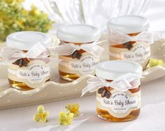 Sweet as can be, personalized clover honey--we love this idea for spring baby shower favors and new mom gifts.