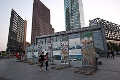 Berlin Wall memorial display on Potsdamer Platz, one of the largest and most famous squares in Berlin.