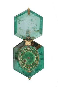 Watch set in a single Colombian emerald crystal: c. 1600 From the Cheapside Hoard http://www.museumoflondonimages.com