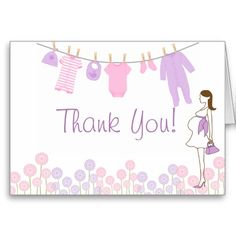 Pink and Purple Little Clothes Baby Shower Thank Stationery Note Card