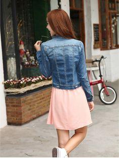 Más el tamaño S 5XL primavera manga larga moda Denim Jeans mujer la chaqueta de gran tamaño chaqueta de jean vaqueros Jaqueta feminina en Chaquetas Básicas de Moda y Complementos Mujer en AliExpress.com | Alibaba Group