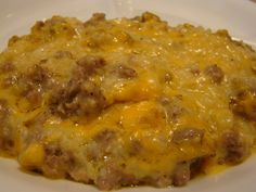 Cauliflower sausage casserole - This recipe is a keeper. It reminded me of 2 different recipes. One was an old favorite of hashbrown casserole and another of Corn beef hash that I used to get at Golden Coral many years ago. Sausage Recipes, Pork Recipes, Low Carb Recipes, Cooking Recipes, Healthy Recipes, Chicken Recipes, Recipies, Low Carb Breakfast, Sausage Breakfast
