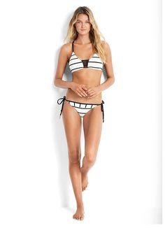 c9c1525b5dd83 Castaway Stripe Multi Rouleau Bralette Bikini Top   Castaway Stripe Regular  Tie Side Bikini Pant Beachwear