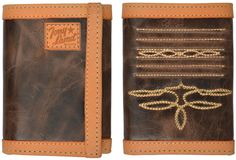Tony Lama USA Dark Brown Western Rodeo Trifold Leather Mens Wallet 27WTL199