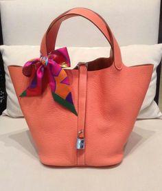 075384fdd9 Hermes Picotin. Emperia Handbags · scarf on bag