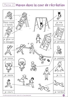 printable worksheets (coloring pages, matching, cut-and-paste, etc.) to practice motion verbs in French and playground vocabulary; four other sets (other themes) also available French Language Lessons, French Lessons, English Lessons, Teaching French, Teaching English, French Practice, Vocabulary Instruction, French Worksheets, Core French