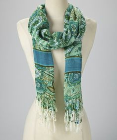 Another great find on #zulily! Teal Paisley Bloom Scarf #zulilyfinds
