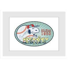 Marmont Hill All-Star 1950 inch Peanuts Framed Art Print, Size: 18 inch x 12 inch, Multicolor