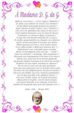 À Madame D. G. de G poème de Victor Hugo Madame, Words, Top, Beautiful Poetry, Crop Shirt, Horse, Shirts