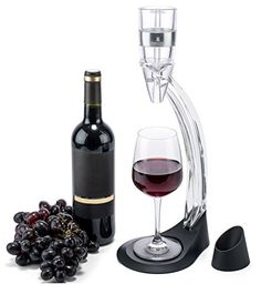 Stylish Wine Aerator Gift Set with Accessories  Aerator with Aluminium Ring Aerator Stand with Mini Holder Aerator Base  Travel Pouch  Elegantly Boxed * For more information, visit image link.