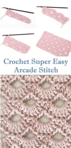 Crochet Arcade Stitch Learn to create this beauty with the help of the step by step instructions. Diy Crochet And Knitting, Learn To Crochet, Granny Square Crochet Pattern, Easy Crochet Patterns, Left Handed Crochet, Different Crochet Stitches, Crochet Projects, Diy Projects, Lana