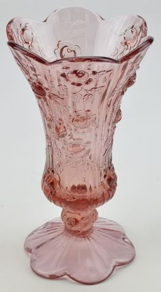 Fenton Rose Compote - I want to use these, not just display, despite risk of breakage. Wouldn't it feel fabulous to see fresh flowers in this glass?