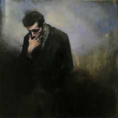Smoker - Christopher Thompson British, b, 1969- Oil on board, 30.5 x 30.5cm (12 x 12in)