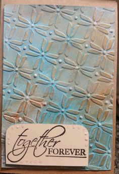 No 98. Distress paints. Cuttlebug. Glitter gel. Shiny off camera. Looks good. Cards by Shann.