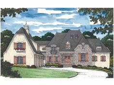 Eplans French Country House Plan - Modern Manor - 8620 Square Feet and 5 Bedrooms from Eplans - House Plan Code HWEPL13419