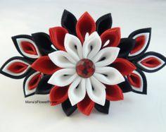 Hecho a mano Kanzashi tela flor del grosgrain de la cinta francesa pasador - accesorios para el cabello en Reino Unido, envío mundial