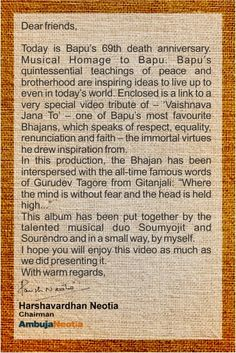 Here's a message from our Chairman, Shri Harshavardhan Neotia, on Bapu's 69th death anniversary - inviting you all to watch our very special #video tribute of – 'Vaishnava Jana To' – one of Bapu's most favourite Bhajans