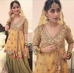 Wedding brida yellow and mehndi green color with gota dabka zari nagh threds work Model 108 Mehndi Dress For Bride, Pakistani Mehndi Dress, Bridal Mehndi Dresses, Walima Dress, Shadi Dresses, Pakistani Wedding Outfits, Pakistani Wedding Dresses, Pakistani Dress Design, Mehndi Outfit
