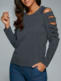 Fitting Split Sleeve Cut Out T-Shirt in Gray | Sammydress.com
