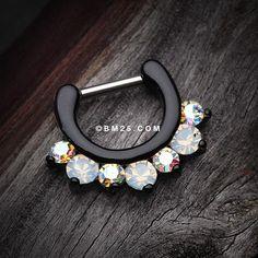 Blackline Opalite Sparkle Deuce Septum Clicker Ring