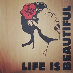 #banksy life is beautiful. I created this with a vinyl decal I found in a warehouse in the backstreets of  London. I brought it back, applied it to an old cabinet door, and now its one of my favorite pieces in my studio.